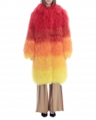 Multicolor Lamb Fur Coat