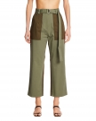 Green Cotton Crop Pants